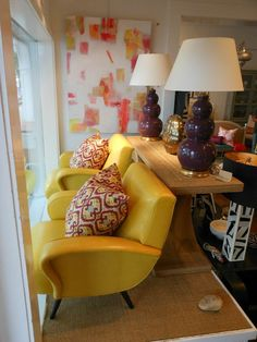 Bright #yellow #chairs with printed #pillows are perfect in this window display at #EastHampton #mecox #interiordesign #hamptons #mecoxgardens #furniture #shopping #design #decor #home #designidea #room #vintage #antiques #garden