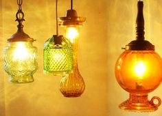 Put A Bulb In It: 24 upcycled pendant lights made from thrifty vintage treasures light idea, pendant lamps, vintage jars, pendants, lighting, vintage vases, glass, pendant lights, diy
