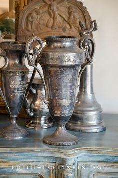 Huge Antique Golf Trophy Cup Silver Plate 14 by edithandevelyn