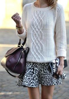 cable knit + leopard skirt