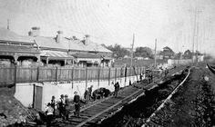 Negative - Men Laying the Williamstown Railway Line, Footscray, Victoria, 1928 Melbourne Victoria, Victoria Australia, Melbourne Australia, Australia Travel, Melbourne Suburbs, Old Photos, Vintage Photos, History Photos, Historical Pictures