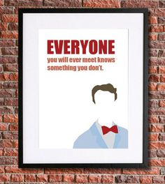 """Bill Nye """"The Science Guy"""" Art  8x10 Instant Download Poster """"Everyone you will meet knows something that you don't"""" quote"""