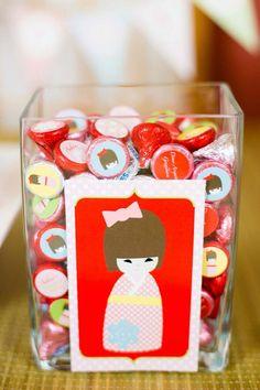 Japanese Kokeshi Doll with Lots of Cute Ideas via Kara's Party Ideas KarasPartyIdeas.com