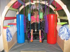"The kids love our new sensory car wash at Abi's Place. It's filled with a variety of textures for the kids to explore in a fun and engaging activity related to our ""Let's Get Moving"" theme. Thank you Guidecraft for donating the Playhouse Hideaway Bookshelves!!"