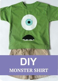 A DIY monster shirt! Kids will love this. :) Source by joann T-Shirts Mike Wazowski Shirt, Sully Costume, Monster Party, Holidays With Kids, Applique, Disney Shirts, Diy Shirt, Learn To Sew, School Fun