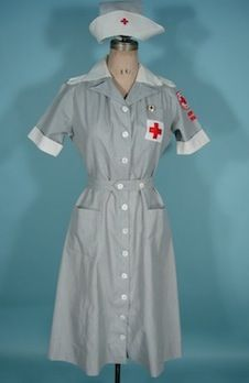 "Circa 1942-47 MERCANTILE UNIFORMS, New York WWII ""Gray Lady"" Complete Red Cross Uniform /American Red Cross Volunteer Outfit.  AKA Hospital and Recreation Corps Uniform."