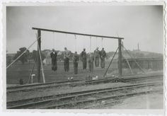 Bodies of seven railwaymen who had been publicly hanged three days before, after a partisan unit derailed a German train. Płaszów, Kraków, occupied Poland, 29th June 1942 via reddit[[MORE]]lared930:I've accidentally bumped into a memorial of this event. The railwaymen, 7 poles, were picked at random and hanged on the 26th June
