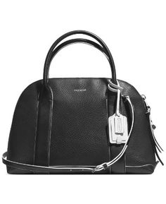Women's Shoulder Bags - Coach Bleecker Preston Satchel 30165 in Edgepaint Leather Black White -- Click image for more details.