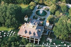 Houmas House Plantation and Gardens - Here's an aerial view showing the home in relation to the surrounding gardens.