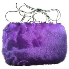 Pre-owned Elie Tahari Helena Fur Minaudiere Purple Clutch ($120) ❤ liked on Polyvore featuring bags, handbags, clutches, purple, fur purse, purple handbags, pre owned handbags, fur clutches and elie tahari purse