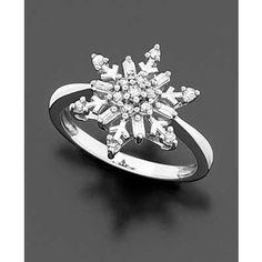 SNOWFLAKE LOVE ♥ 14k White Gold Diamond Snowflake Ring