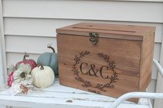Rustic Wood Card Box Large Card Box Wedding Cards Laser