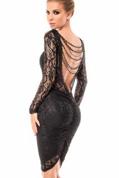 Cheap dress vestidos, Buy Quality open back directly from China midi dress Suppliers: Wholesale Price Lace Bodycon Open Back Chain Midi Dress Black Lace Patchwork Long Sleeve Women Party Dresses Vestidos M-XL Lace Party Dresses, Club Dresses, Sexy Dresses, Beautiful Dresses, Fashion Dresses, Dress Prom, Backless Mini Dress, Lace Dress, Vestidos Sexy