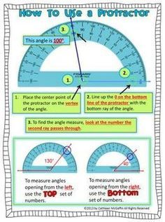 How to Use a Protractor Freebie! OMG, my fourth graders needed so much helping with learning to use a protractor to measure angles. This will help so much! Math Strategies, Math Resources, Math Activities, Geometry Activities, Geometry Worksheets, Teaching Geometry, Teaching Math, Math Teacher, Math Classroom