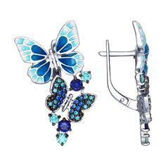 Серьги из серебра с эмалью с зелеными и синими фианитами арт. 94022474 от SOKOLOV