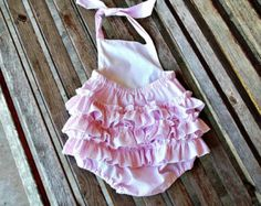 Baby Girl Pink Seersucker Romper, 1st Birthday Outfit, Toddler Girl Bubble, Baby Girl Clothes, Custom Boutique Childrens Clothing, Ruffle