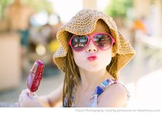 Girl in Hat & Sunglasses Eating a Popsicle - Photos that Showcase the Innocence of Summer on I Heart Faces Photography Blog