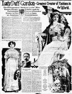 """Her coming to America was greatly heralded in the press, and she was soon writing a weekly syndicated newspaper column which appeared in papers across the county. This full page article announcing the opening of her New York store and promoting her as the Greatest Creator of Fashions in the World"""" was published on February 2, 1910."""