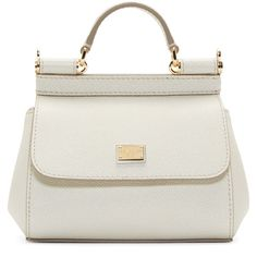 Dolce And Gabbana White Micro Miss Sicily Bag ($825) ❤ liked on Polyvore featuring bags, handbags, shoulder bags, purses, sac, real leather purses, white purse, white shoulder bag, white handbags and structured handbag