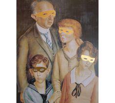 Superheroes 24ct Gold Leaf Gilding and pen work on vintage print Family Glaser, Otto Dix 1891-1969