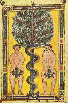 circa NINE FIFTY.  NINE FIF-TEE.    Adam & Eve, illuminated manuscript circa 950, Escorial Beatus