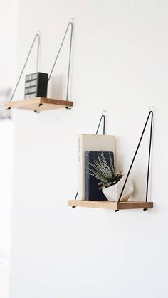 \\ Handmade in Los Angeles, CA //  LISTING IS FOR 2 (TWO) PETIT SHELVES These hanging shelves are the perfect piece for any rustic, minimal or natural home decor. These shelves are available in different finishes/stain color, making them a great fit in any room of the house. Hung with