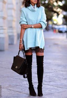 The best way to design in the floor boots, over the knee boots outfit inspirations, plunge fashion, winter style. over the knee boot outfits Trendy Dresses, Casual Dresses, Casual Outfits, Mini Dresses, Mode Outfits, Fashion Outfits, Womens Fashion, Fall Winter Outfits, Autumn Winter Fashion