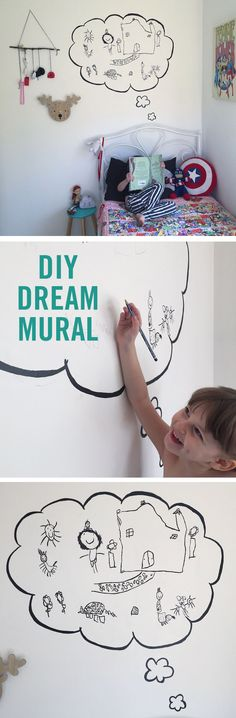 This DIY Dream Mural is the perfect home decor to help make your kid's room their own. Every morning they draw something from their dream. Then later in the day, you outline the drawing in paint. Who knew drawing on the walls could actually be a good thing?