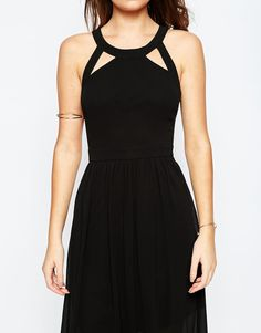 Image 3 of True Decadence Petite Maxi Dress With Lace Up Halter Detail