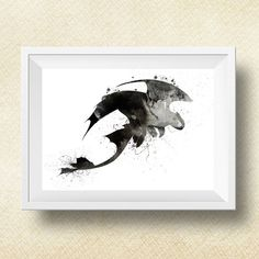 Dragon Night Fury Print, Toothless, How to Train Your Dragon, Poster, Watercolor, Digital Print, Instant download, Watercolor Print, 3 Sizes