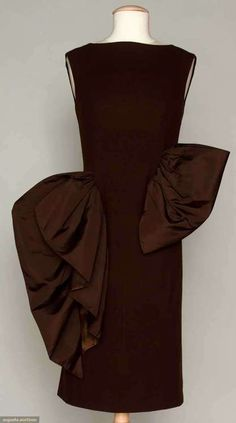 ooohhhh chocolate or burgundy - whatevahhh gorgeous! Cocktail Dress, Pauline Trigère, 1955
