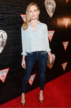 Kate Bosworth rocked a casual denim-on-denim look with retro waves at a Guess Party