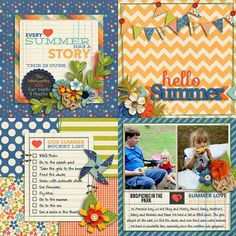 Sweet Shoppe Designs::Templates & Tools::Layout Templates::Summer Love 6x6 Mini Album Templates by Nettio Designs