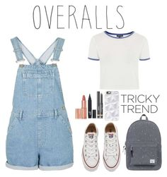 """""""overalls"""" by harmonizer4ever on Polyvore featuring Converse, Topshop, Charlotte Tilbury, Chanel, Herschel Supply Co., Casetify, TrickyTrend and overalls"""