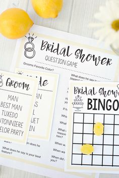 Tweet Pin It As part of our Lemon Themed Bridal Shower we came up with some fun Bridal Shower Games that you can play at any bridal shower! They are simple but fun and we've got three of them. Bridal Shower Bingo, Bridal Shower Taboo and Bridal Shower Questions that you can print and use...Read More »