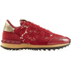 Valentino Rockrunner Leather and Lace Sneakers ($535) ❤ liked on Polyvore featuring shoes, sneakers, rubber sole shoes, red leather shoes, valentino sneakers, red trainers and lacing sneakers