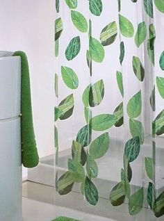 Green Leaf Shower Curtain Floral Curtains Modern Bathroom Prints Leaves