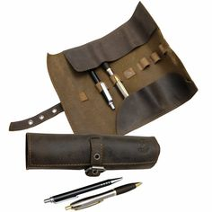 Pens etui, Pencil case, Cosmetic Brush Holder HOMER brown leather