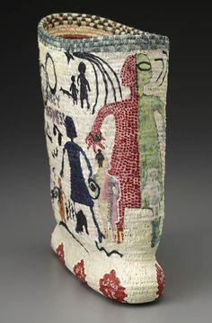 """ELIZABETH WHYTE SCHULZE MONKEY BUSINESS  Pine needles, raffia, acrylic paint  9.5"""" x 8"""" x 4"""" Textile Fiber Art, Textile Artists, Textiles Techniques, Weaving Art, Fabric Art, Basket Weaving, Vases, Handicraft, Bunt"""