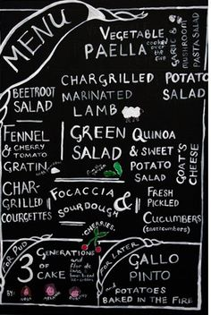 menu on black board