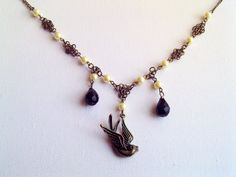 Swallow and Pearls Necklace with by Bluebirdsanddaisies on Etsy, £13.00