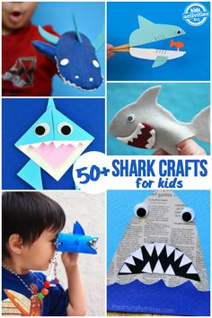 Shark Activities and Crafts is part of Shark Crafts And Activities For Kids Easy Peasy And Fun - We look forward to Shark Week every year, and the best way to celebrate is by making the coolest, funnest shark activities and crafts for kids Whether you Shark Activities, Fun Activities For Kids, Fun Crafts For Kids, Kindergarten Activities, Preschool Activities, Art For Kids, Family Activities, Quick Crafts, Preschool Learning
