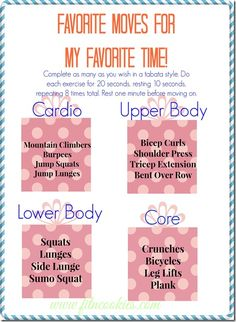 favorite moves for favorite time Tabata Training, Tabata Workouts, Hiit, At Home Workouts, Body Workouts, Tabata Class, Office Workouts, Quick Workouts, Strength Training