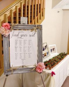 Large Framed Wedding Seating Chart
