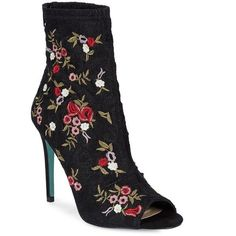 Betsey Johnson Women's Diem Floral Embroidered Textile Booties ($129) ❤ liked on Polyvore featuring shoes, boots, ankle booties, black red, black ankle booties, black stilettos, floral booties, red booties and black booties
