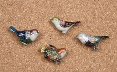 Amazon.com: Shabby Cottage Chic Bird Push Pins Memo Board Pins: maybe someday...
