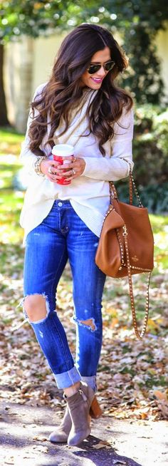 White Peppermint Knit Sweater with Distressed Skinny Jeans and Fulton Booties - The Sweetest Thing