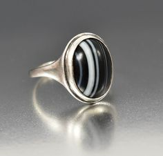 Antique Sterling Silver Victorian Banded Agate Ring