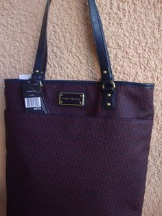 Tommy Hilfiger Shoulder Shopping Handbag Red/Blue Navy  Gold TH Print NWT #TommyHilfiger #TotesShoppers