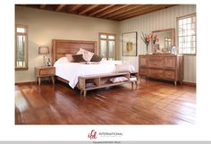 """Retro"" Collection 1066 by International Furniture Direct $2119 Set includes Queen bedframe, dresser, mirror, and nightstand. solid+wood+ifd+retro+bedroom"